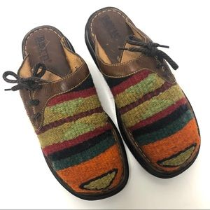 Born Indian Wool Blanket Mules Leather Slip On